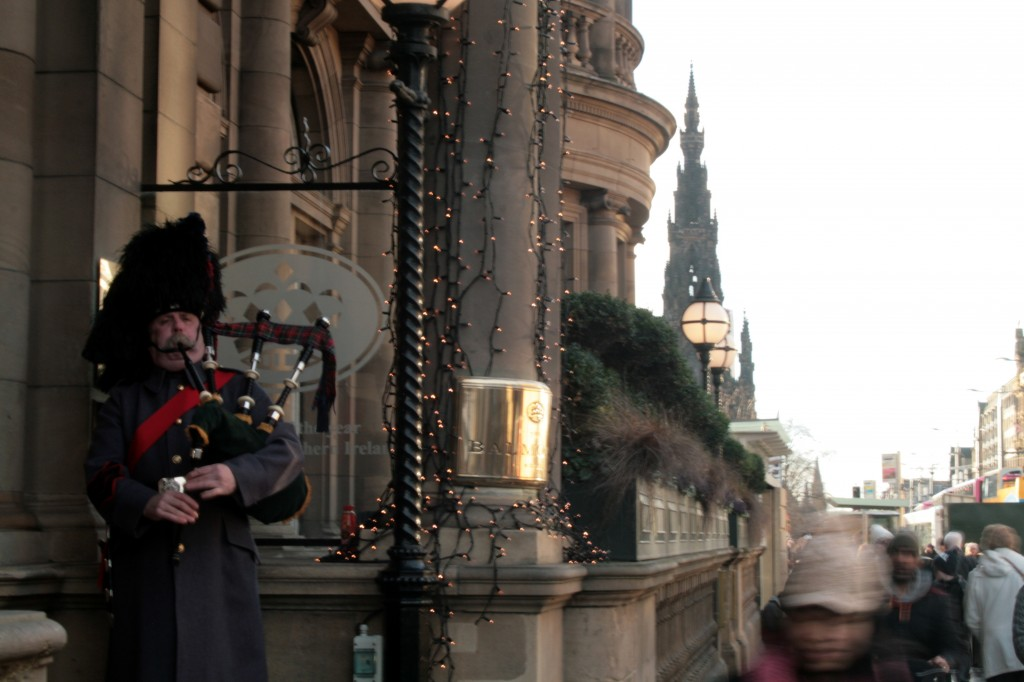 Bagpiper outside the Balmoral Hotel