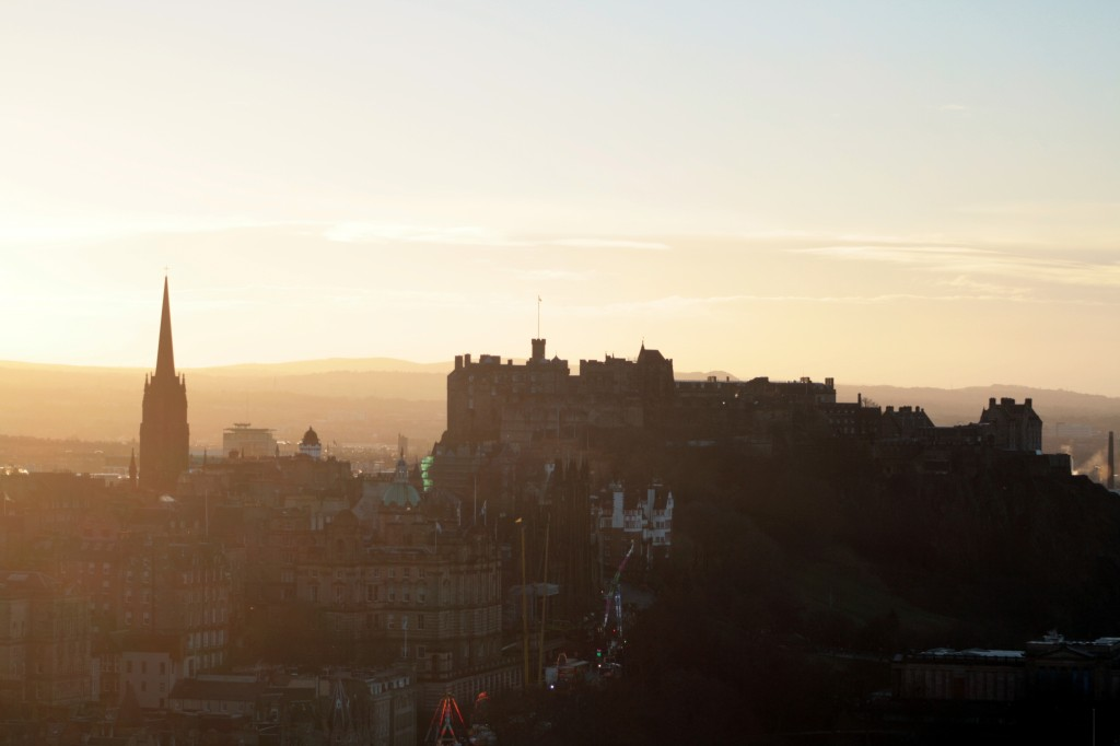 Edinburgh Castle viewed from the top of Nelson's Column