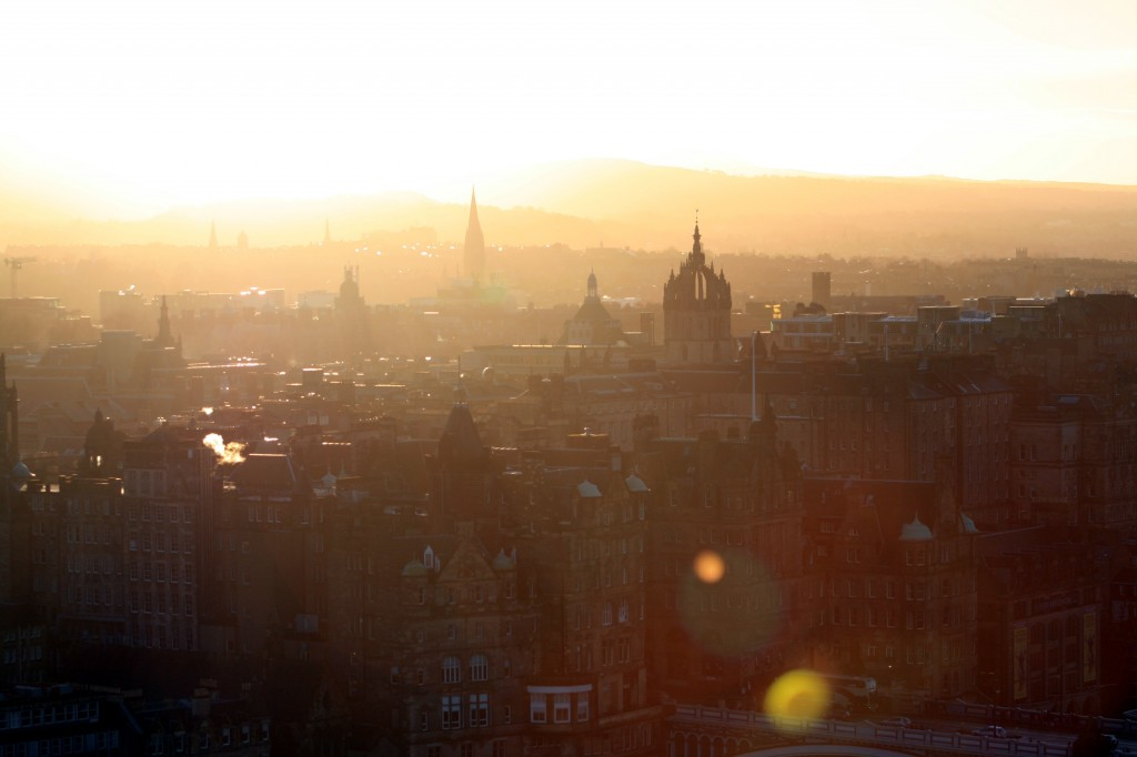 Edinburgh very near sunset.  It was too cold and windy to hang out any longer.