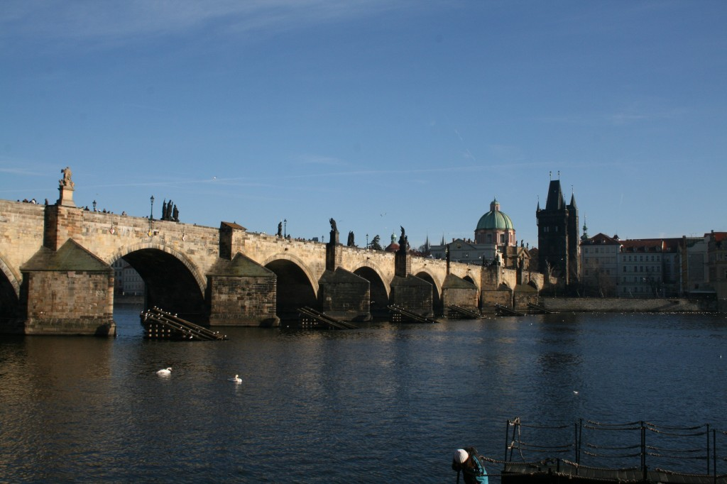 Charles Bridge, viewed from the waterfromt