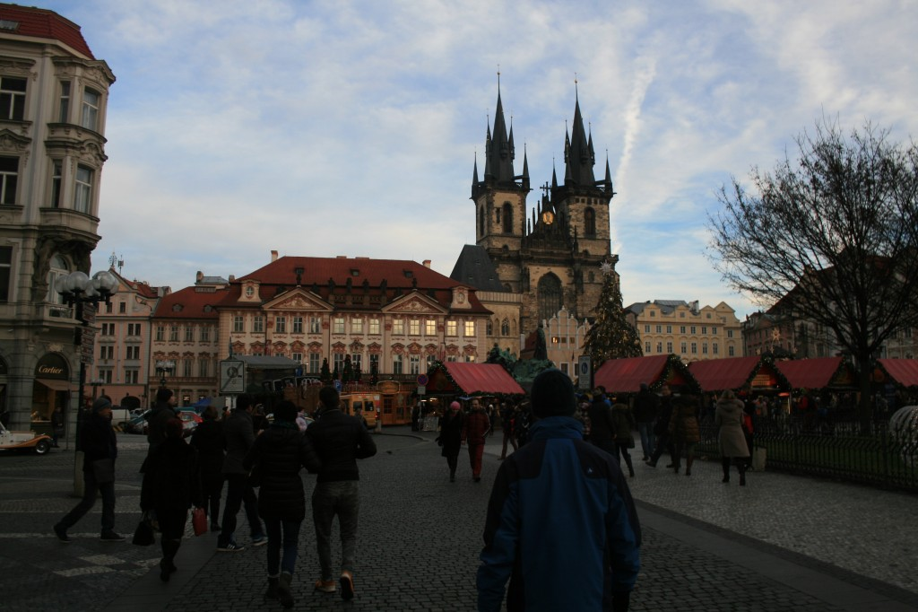 Old Town Square, home of the Christmas Market, and the Church of Our Lady Before Tyn