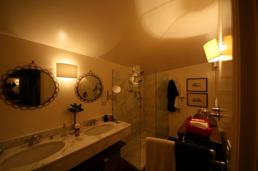 Our bathroom.  Dual vanities?  Check.  Toilet and bidet?  Check.  Huge (for Sicily) shower?  Check.  Shower curtain? Shower curtain?